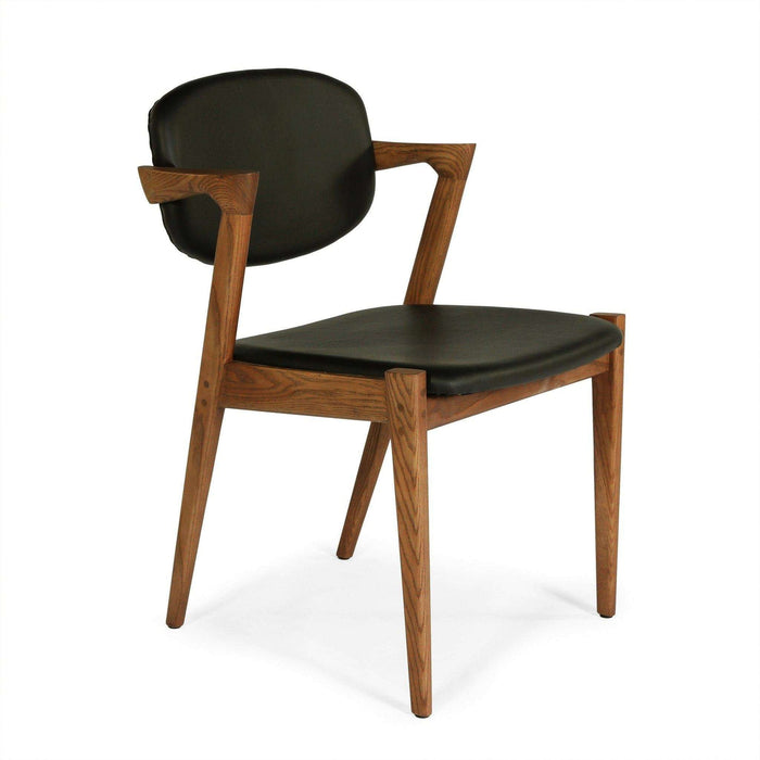 Mid-Century Modern Reproduction Model 42 Flap Back Dining Chair - Black Leather Inspired by Kai Kristiansen