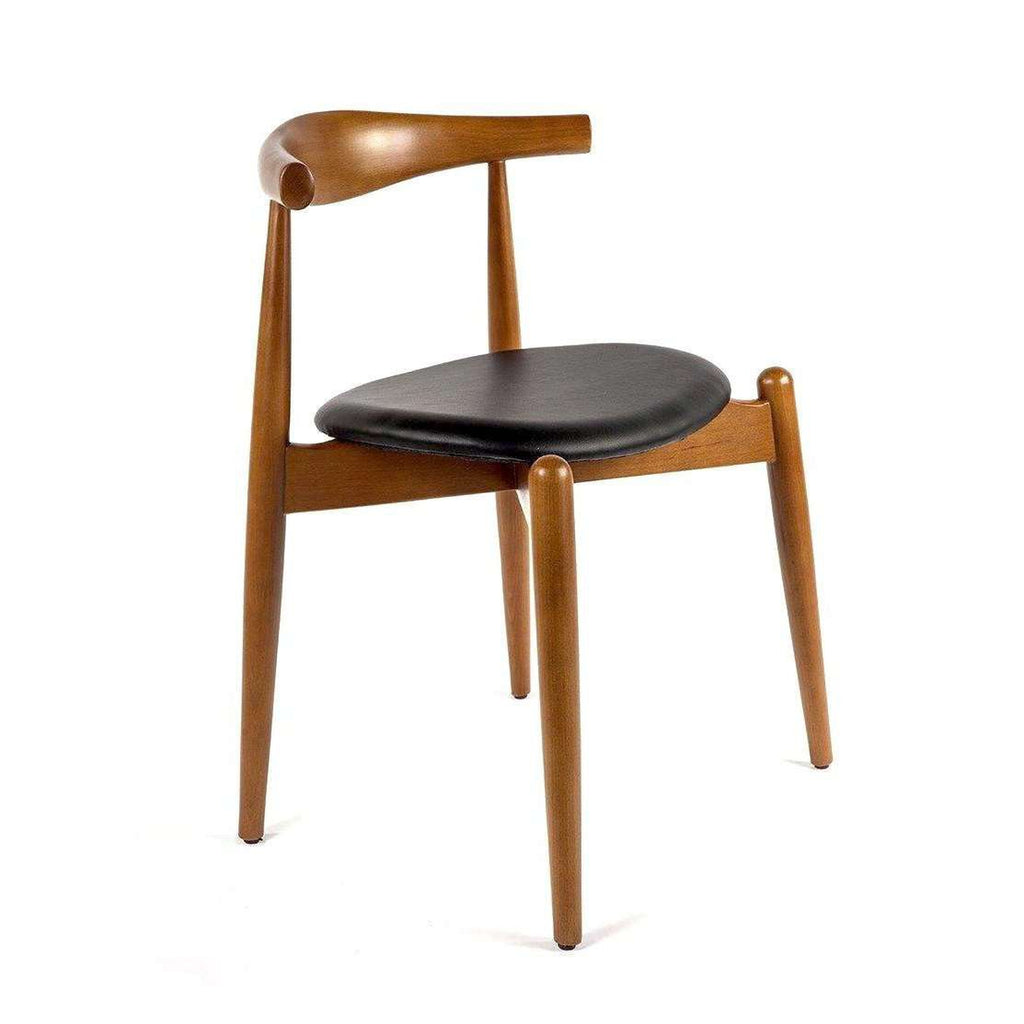 Mid Century Modern Reproduction CH20 Elbow Chair   Black Seat Inspired By Hans  Wegner