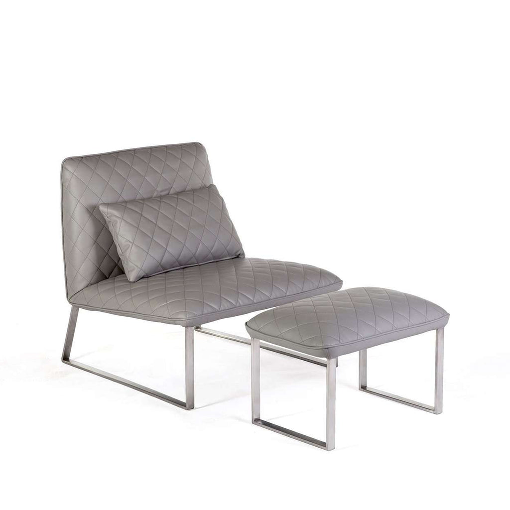 Modern Dabir Lounge Chair and Ottoman - Grey