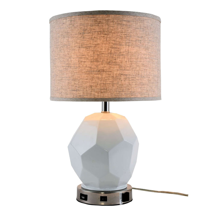 Brio Collection 1-Light Polished Nickel Finish Table Lamp