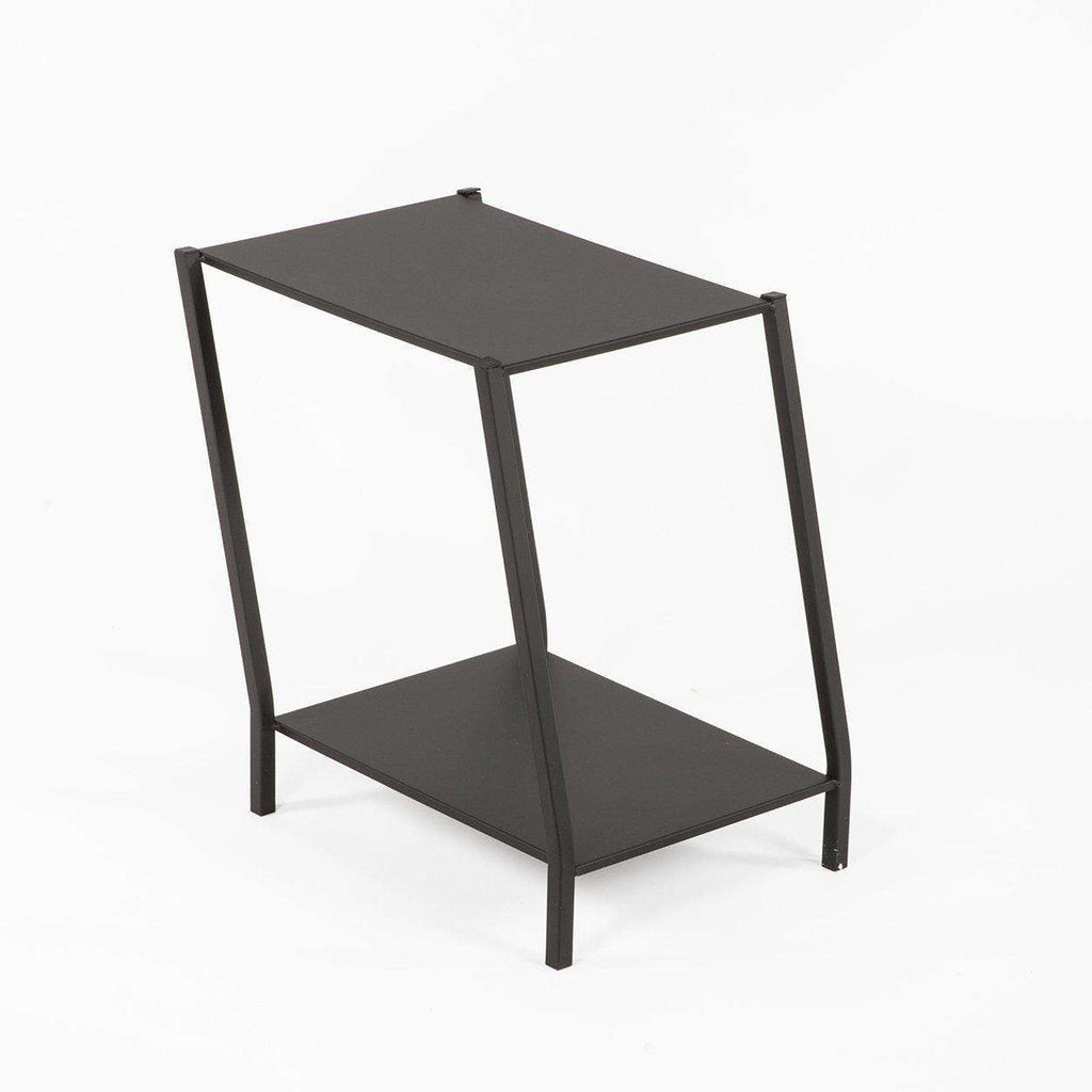 Modern Two Tier Staggered End Table - Black