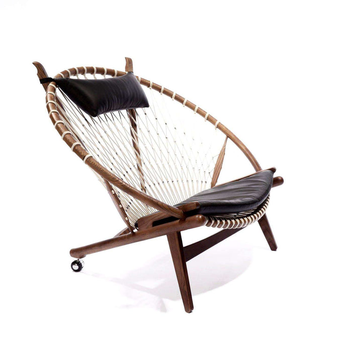 Mid-Century Modern Reproduction PP130 Circle Hoop Chair - Black Leather Inspired by Hans Wegner