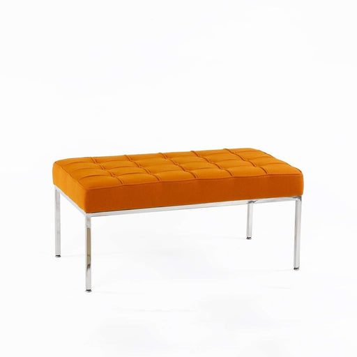 Mid-Century Modern Reproduction Mid Century Tufted Bench - Orange Wool Inspired by Florence Knoll
