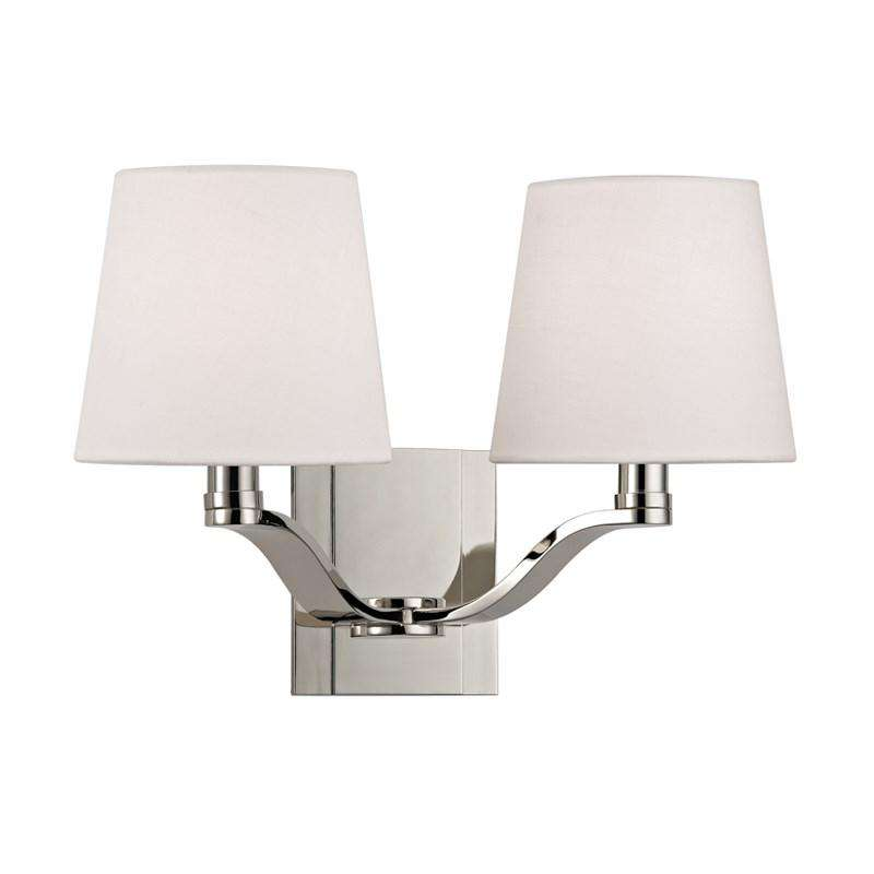 Clayton 2 Light Wall Sconce Polished Nickel