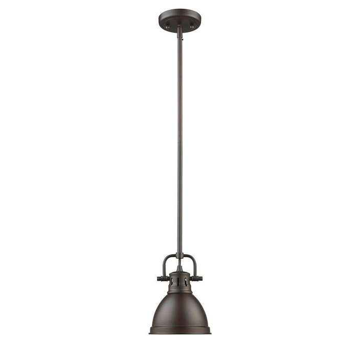 Duncan Mini Pendant with Rod in Rubbed Bronze with a Rubbed Bronze Shade