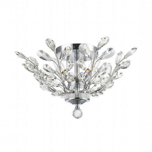 ASPEN 4 LIGHT CHROME FINISH CRYSTAL SEMI FLUSH MOUNT CEILING LIGHT