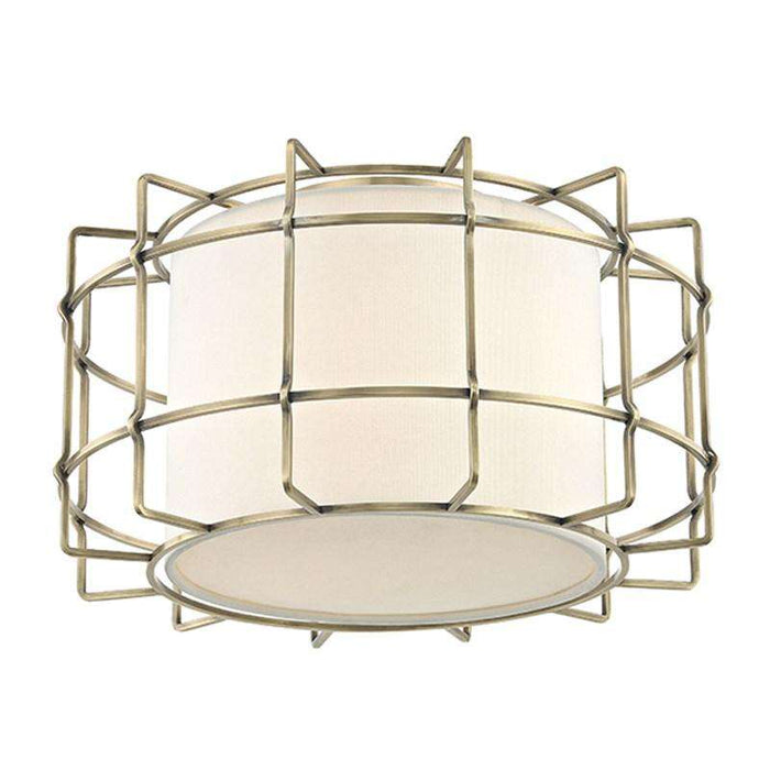 Sovereign 2 Light Flush Mount Aged Brass