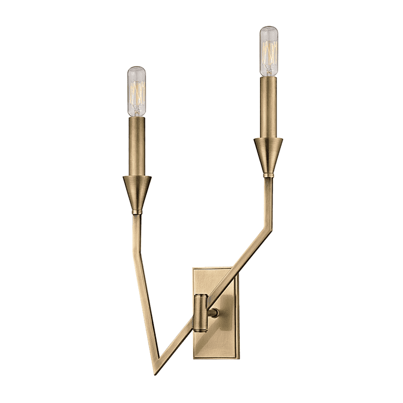 Archie 2 Light Right Wall Sconce Aged Brass