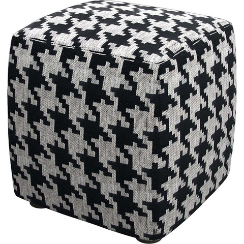 Hester Pouf in Black White Houndstooth