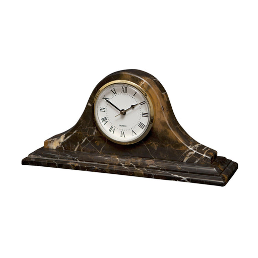 Saturn Collection Black & Gold Marble Mantle clock