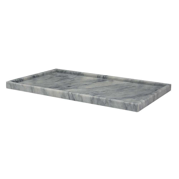 "Cloud Gray 12"" x 20"" Marble Rectangular Place Tray"