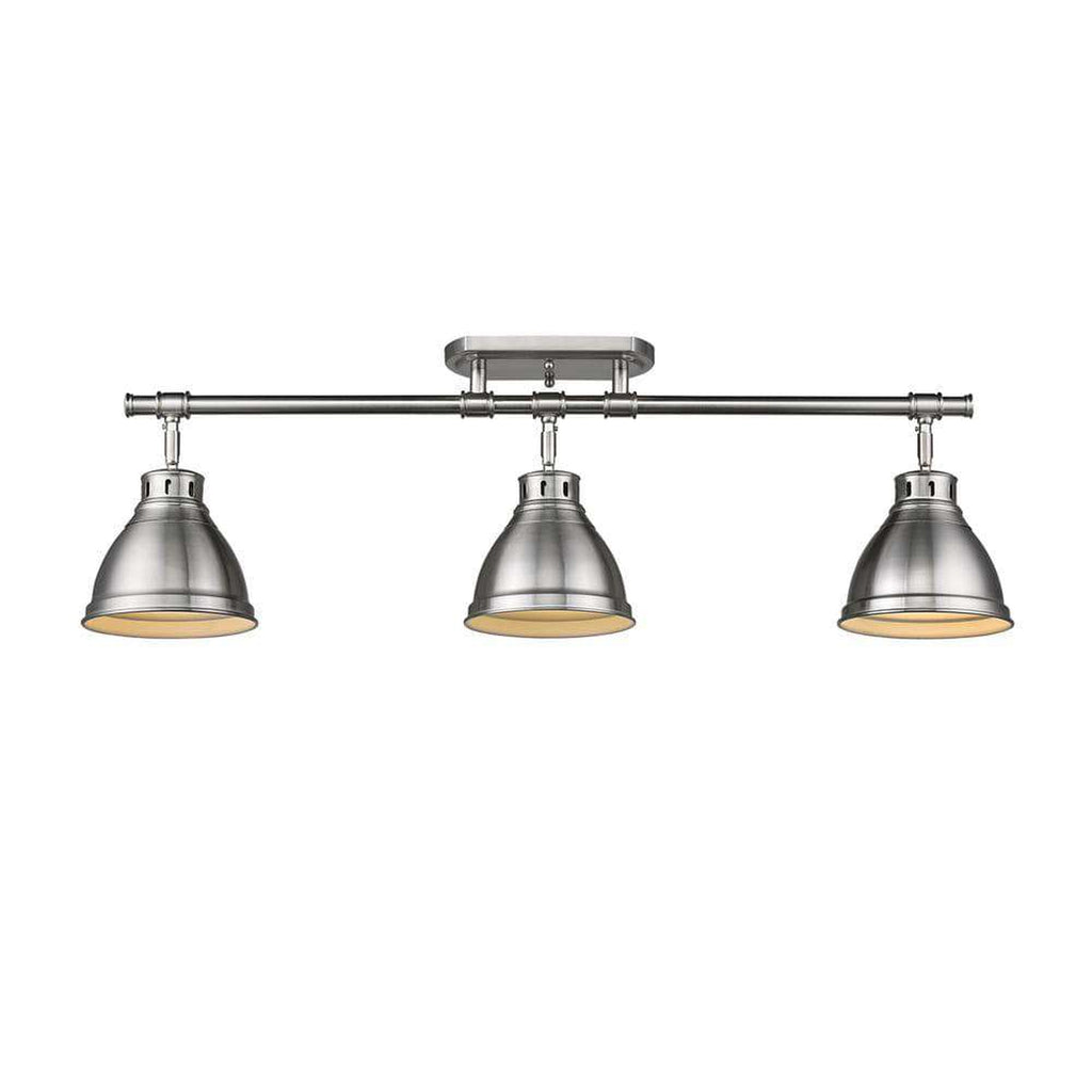 Duncan 3 Light Semi-Flush - Track Light in Pewter with Pewter Shades