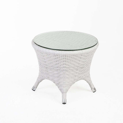 Modern Darcy Outdoor Side Table with Glass Top