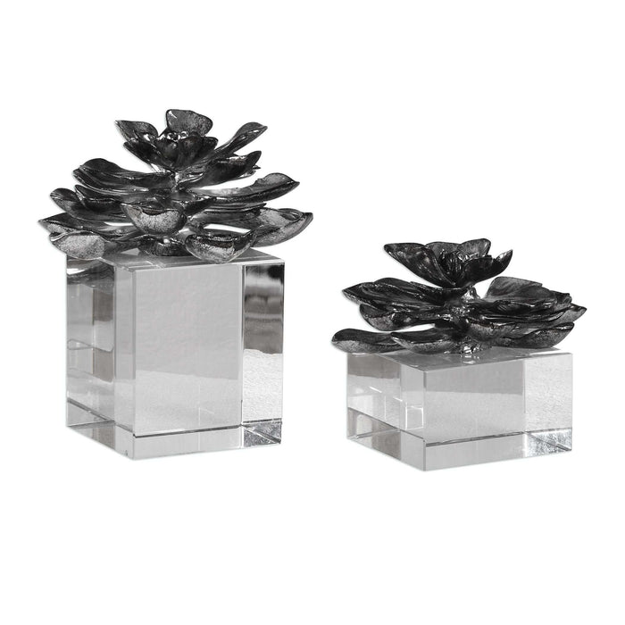 Indian Lotus Metallic Silver Flowers S/2