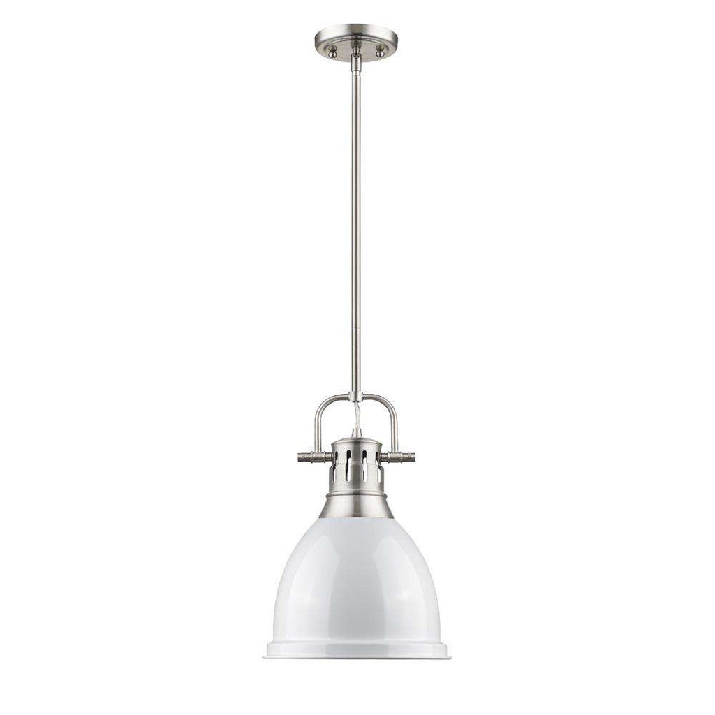 Duncan Small Pendant with Rod in Pewter with a White Shade