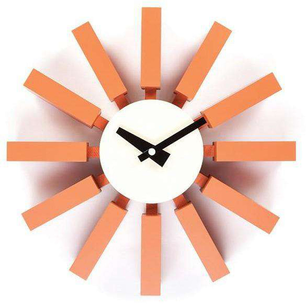 Mid-Century Modern Reproduction Block Clock - Orange Inspired by George Nelson