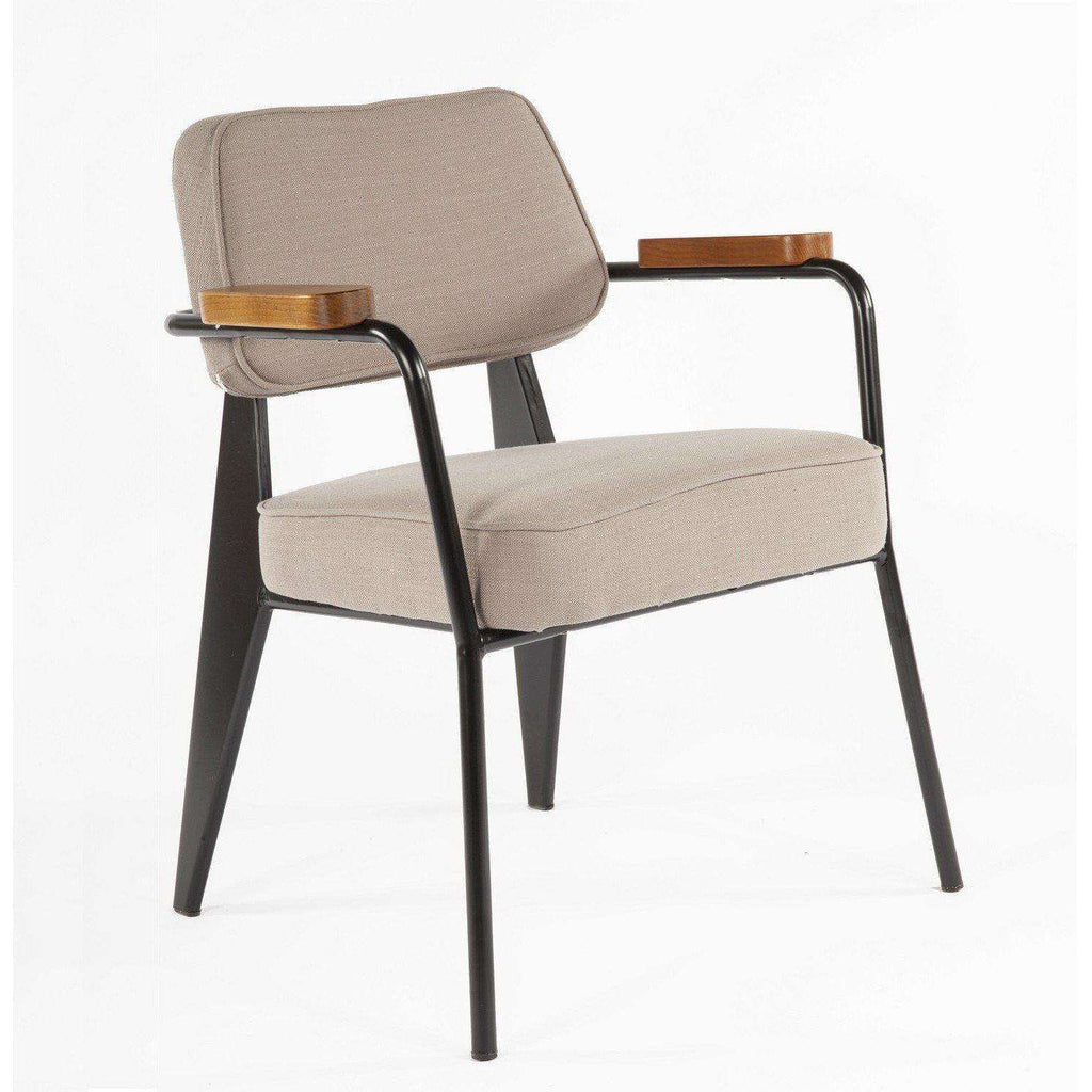 Mid Century Modern Reproduction Fauteuil Direction Arm Chair Brown