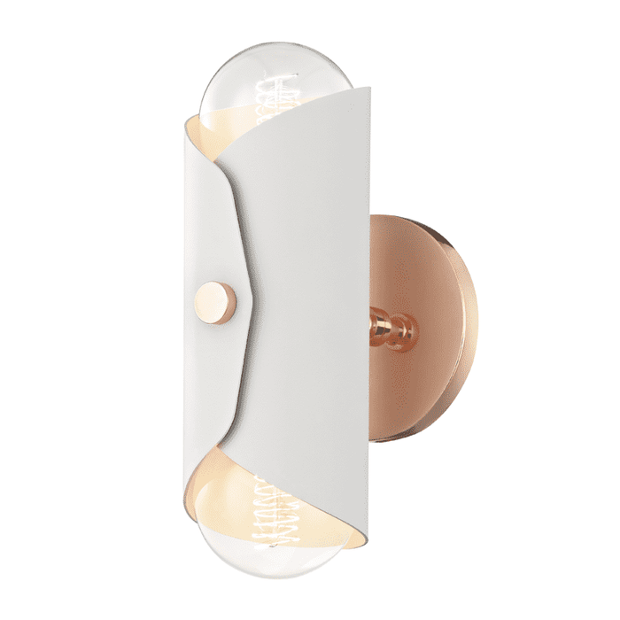 Immo 2 Light Wall Sconce - Polished Copper/White