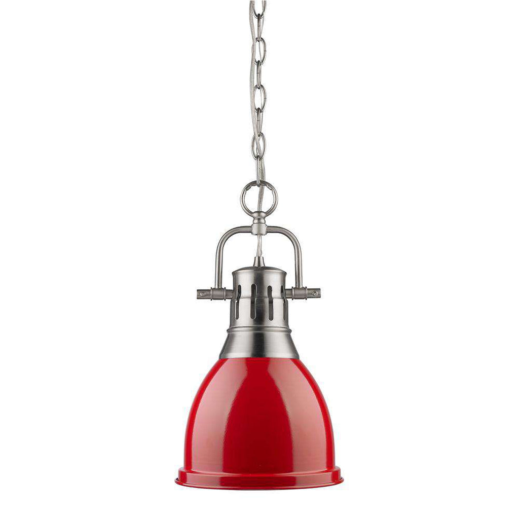 Duncan Small Pendant with Chain in Pewter with a Red Shade