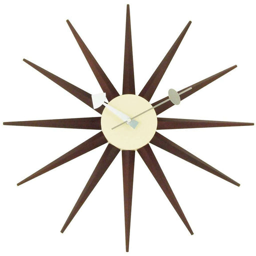Mid-Century Modern Reproduction Sunburst Clock - Walnut Inspired by George Nelson