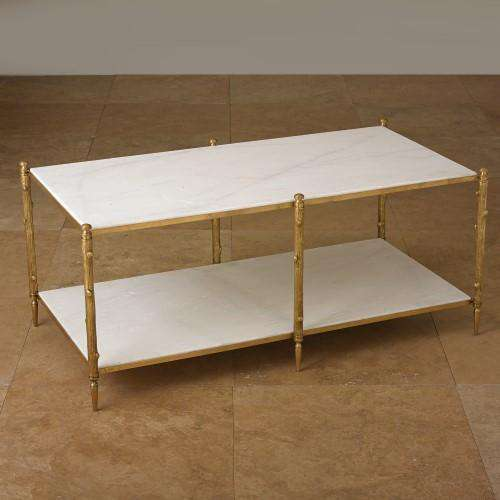 Arbor Cocktail Table - -Brass & White Marble