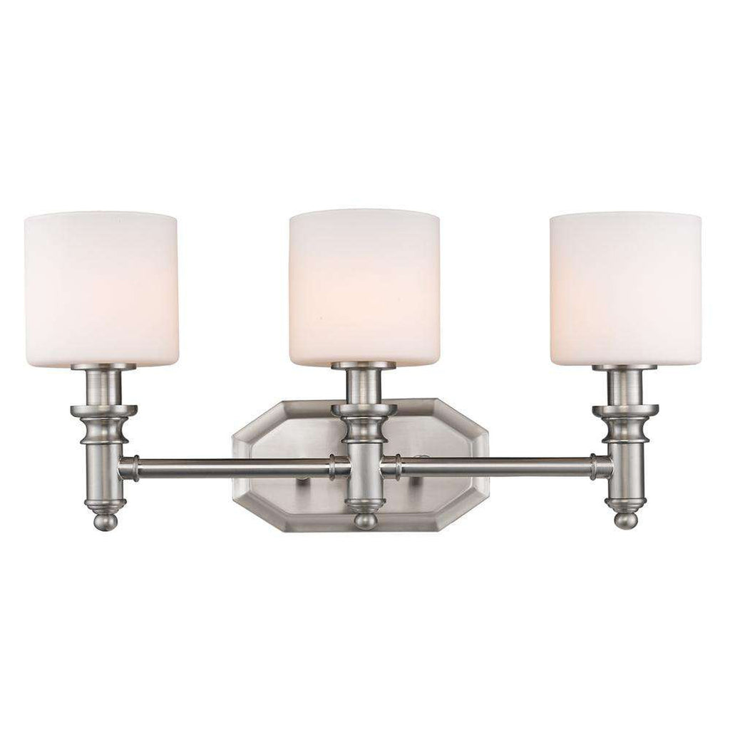 Beckford 3 Light Bath Vanity in Pewter with Opal Glass
