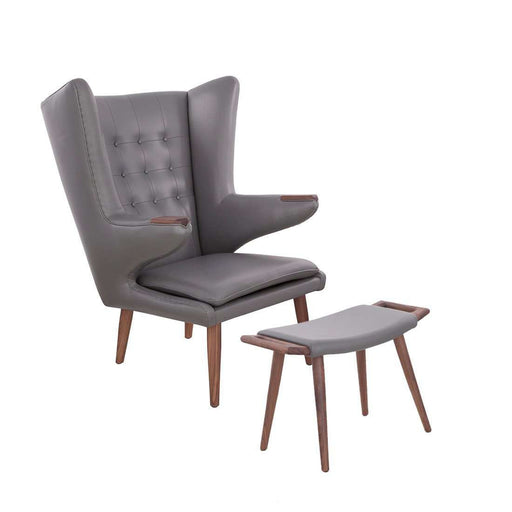 Wegner PP19 Papa Bear Chair and Ottoman - Grey Leather