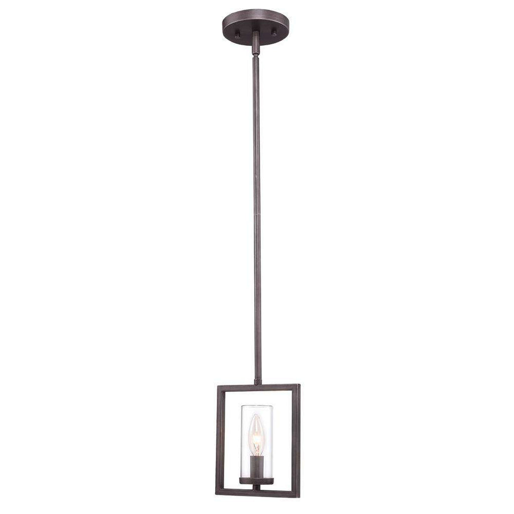 Marco Mini Pendant in Gunmetal Bronze with Clear Glass