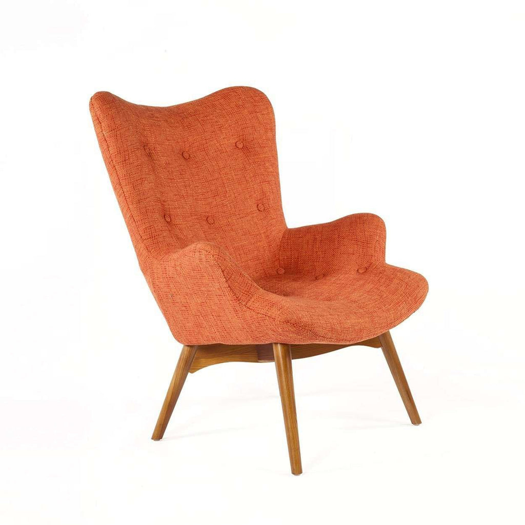 Delightful Mid Century Modern Reproduction Contour Lounge Chair   Orange Twill  Inspired By Grant Featherston