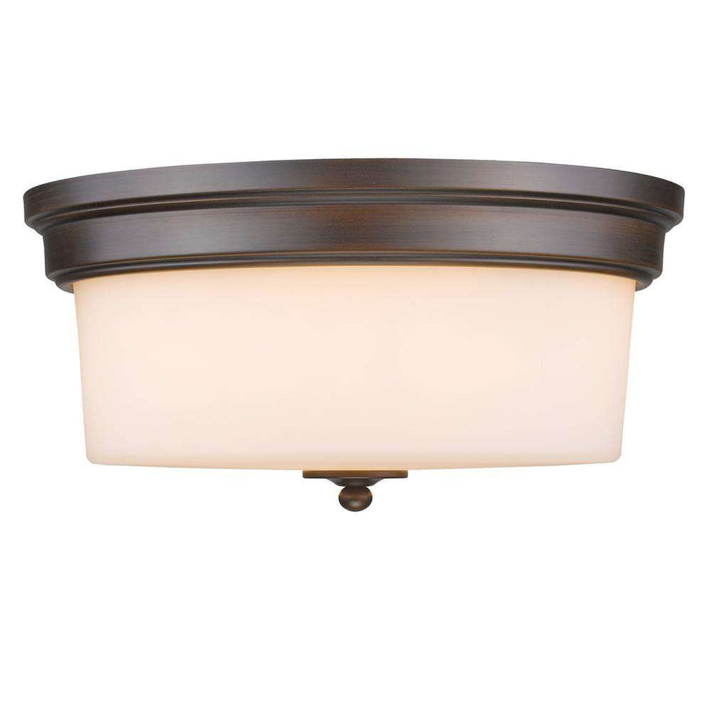 Multi-Family Flush Mount in Rubbed Bronze with Opal Glass