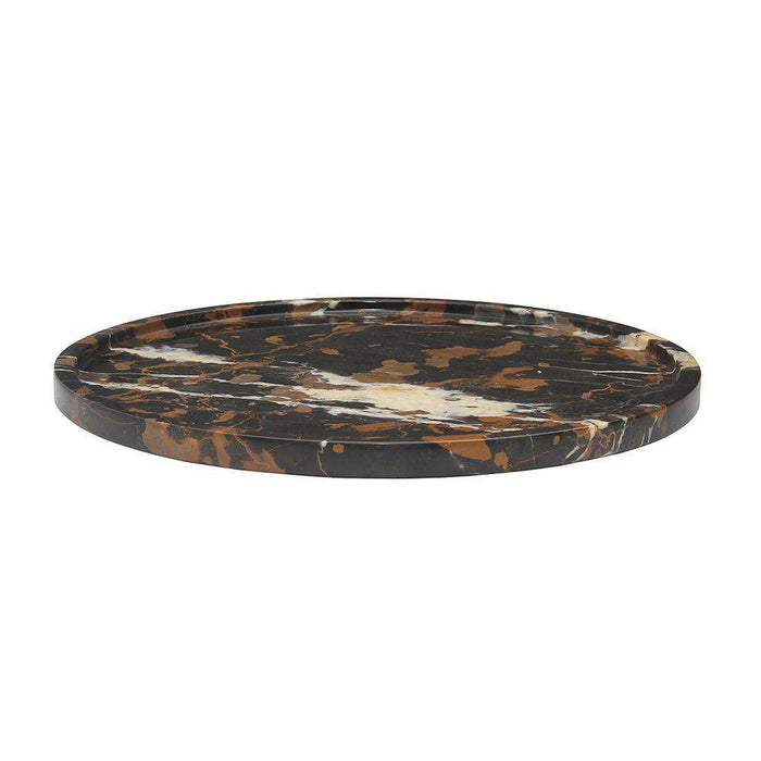 "Black & Gold 16"" Marble Round Place Tray"