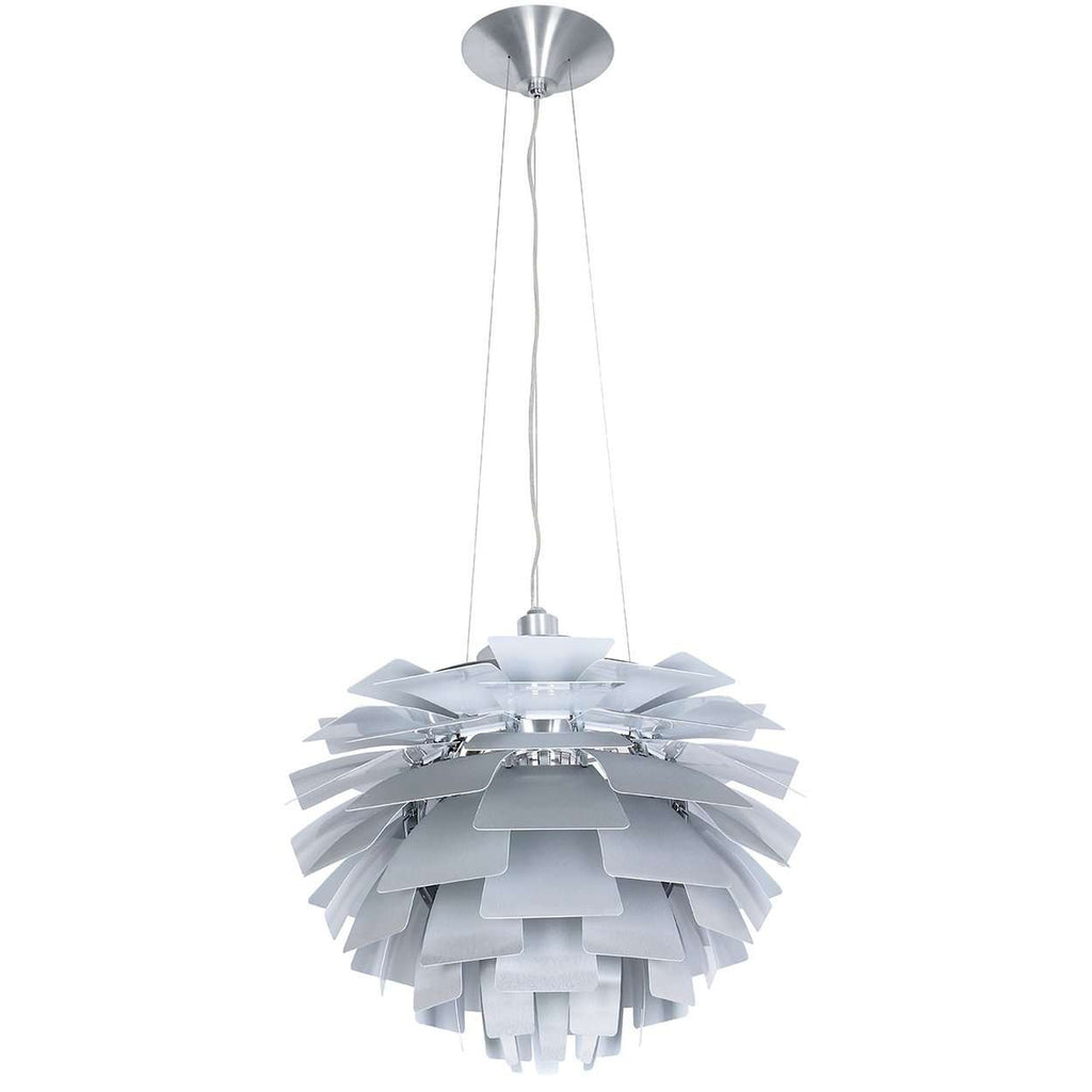 "Mid-Century Modern Reproduction Henningsen Pinecone Lamp - Silver - 28"" Diameter Inspired by Poul Henningsen"