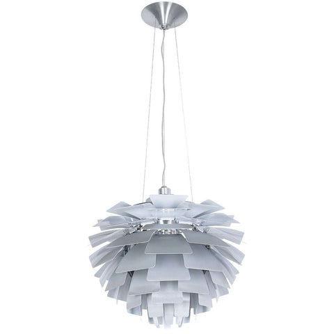 "Mid-Century Modern Reproduction PH Artichoke Lamp - Silver - 23"" Diameter Inspired by Poul Henningsen"