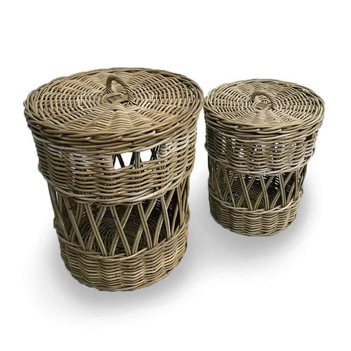 Rattan Basket Pair with Diamond Weave - PICKUP ONLY
