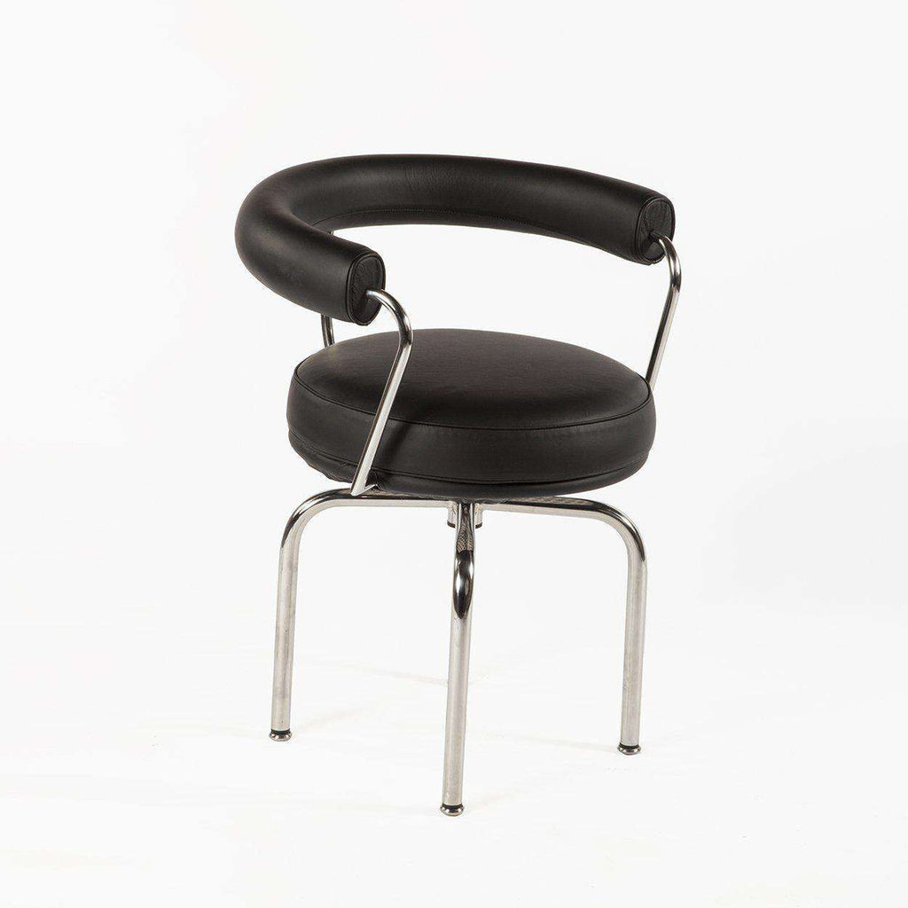 Mid-Century Modern Reproduction LC7 Swivel Chair with Chrome Frame - Black Leather Inspired by Le Corbusier