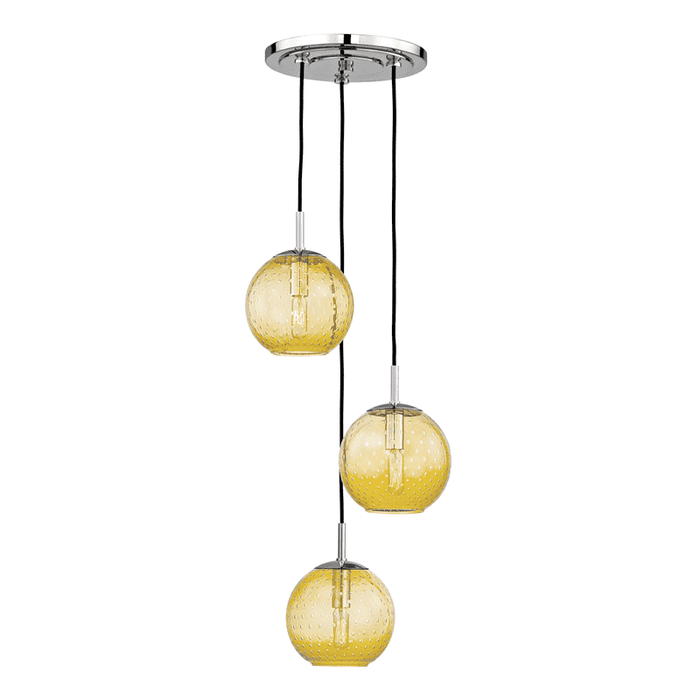 Rousseau 3 Light Pendant With Light Amber Glass Polished Chrome
