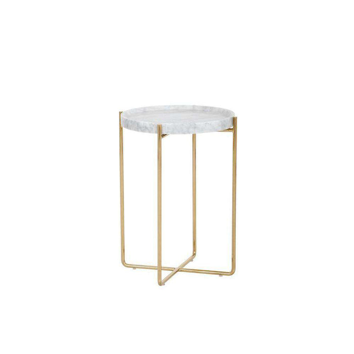 LIV SIDE TABLE - WHITE MARBLE