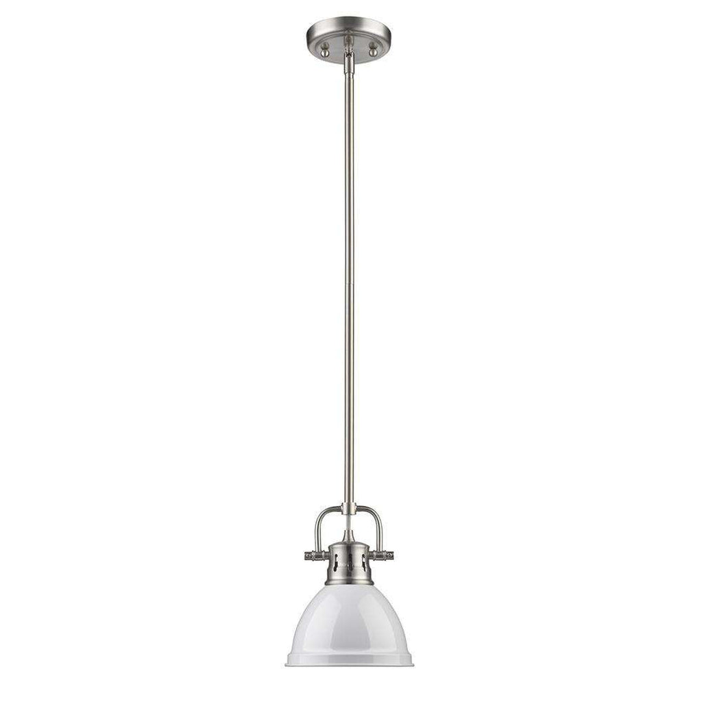 Duncan Mini Pendant with Rod in Pewter with a White Shade
