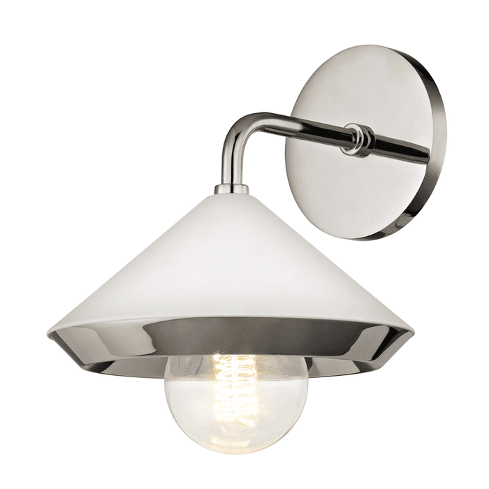 Marnie 1 Light Wall Sconce - Polished Nickel/White