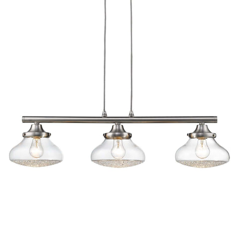 Asha 3 Light Linear Pendant Pewter