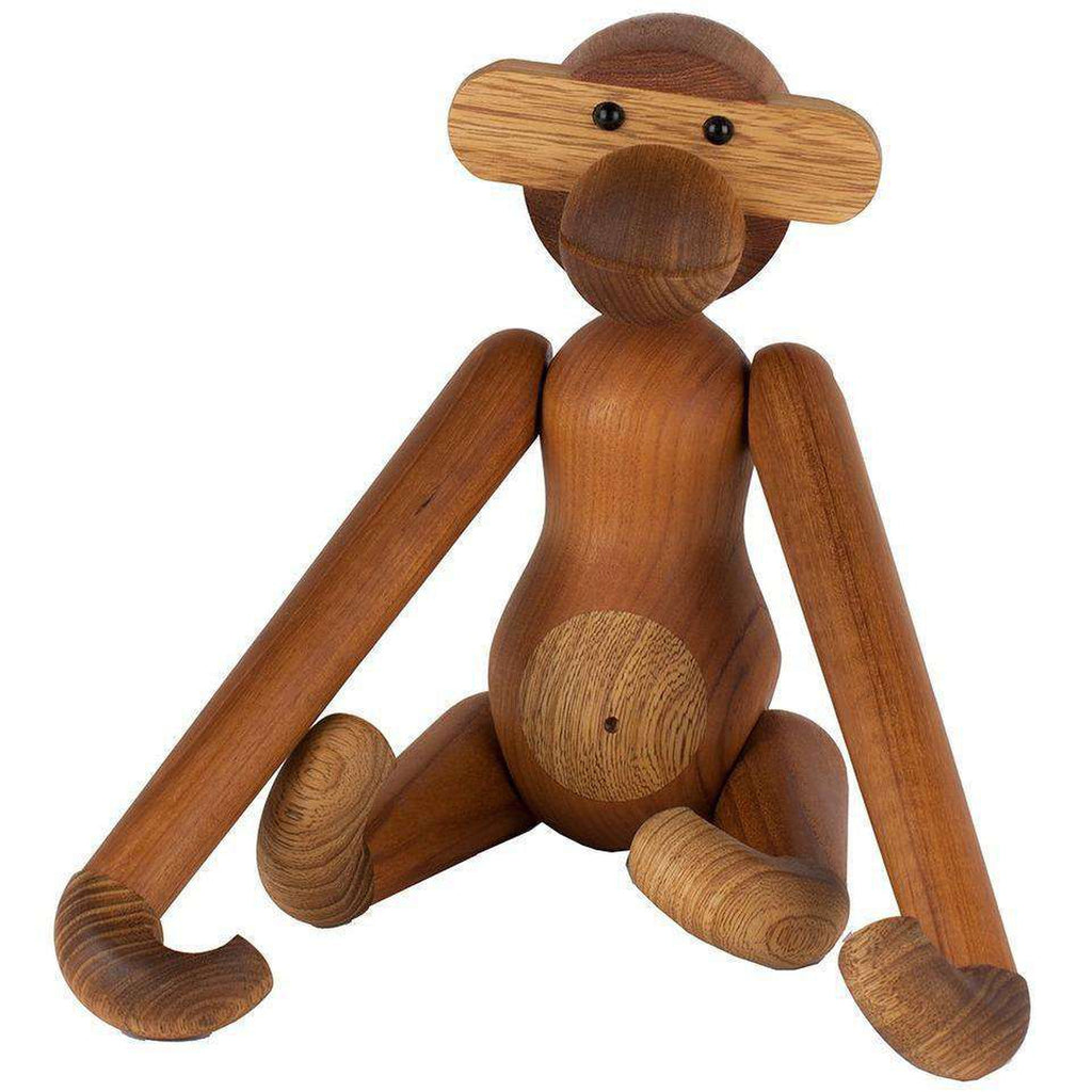 Mid-Century Modern Reproduction Teak Monkey Figurine - Large Inspired by Kay Bojesen