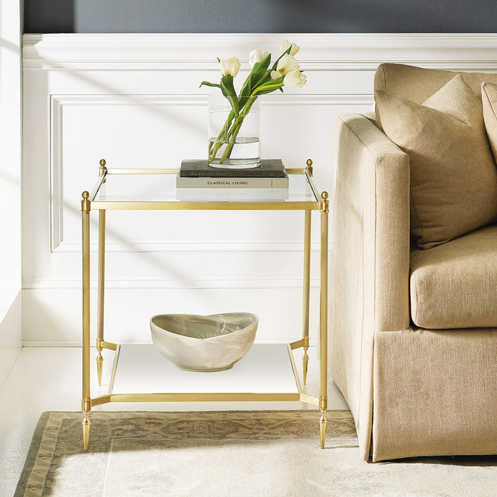 Square Pom End Table-Brass