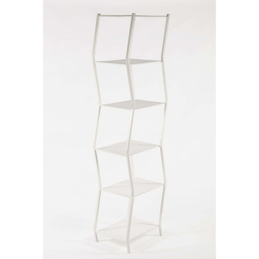 Modern Six Tier Staggered Book Shelf - White