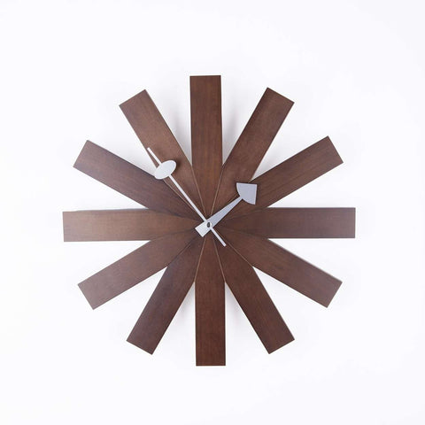 Mid-Century Modern Reproduction Asterisk Clock - Walnut Inspired by George Nelson