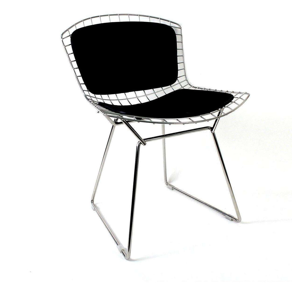 Mid-Century Modern Reproduction Bertoia Side Chair with Leather Pads Inspired by Harry Bertoia