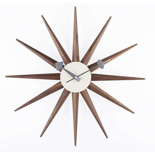 Mid-Century Modern Reproduction Sunburst Clock - Solid Walnut Inspired by George Nelson