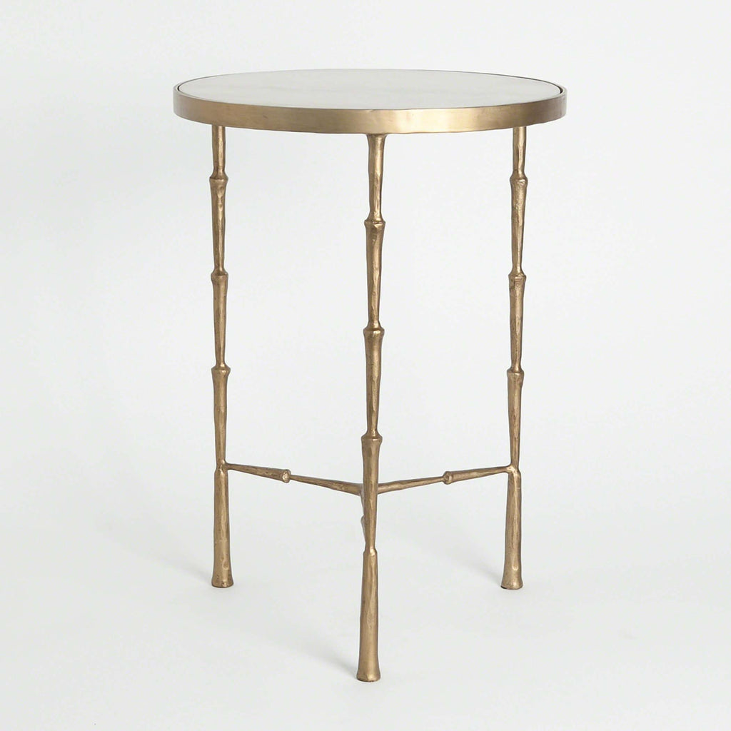 Brass Spike Accent Table with White Marble