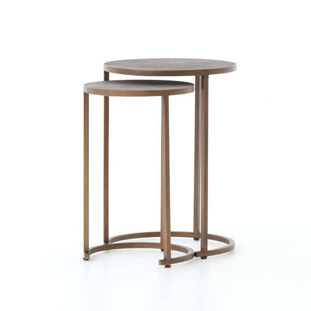 FOURHANDS-SHAGREEN NESTING TABLES ANTIQUE BRASS-FH-VBEN-004