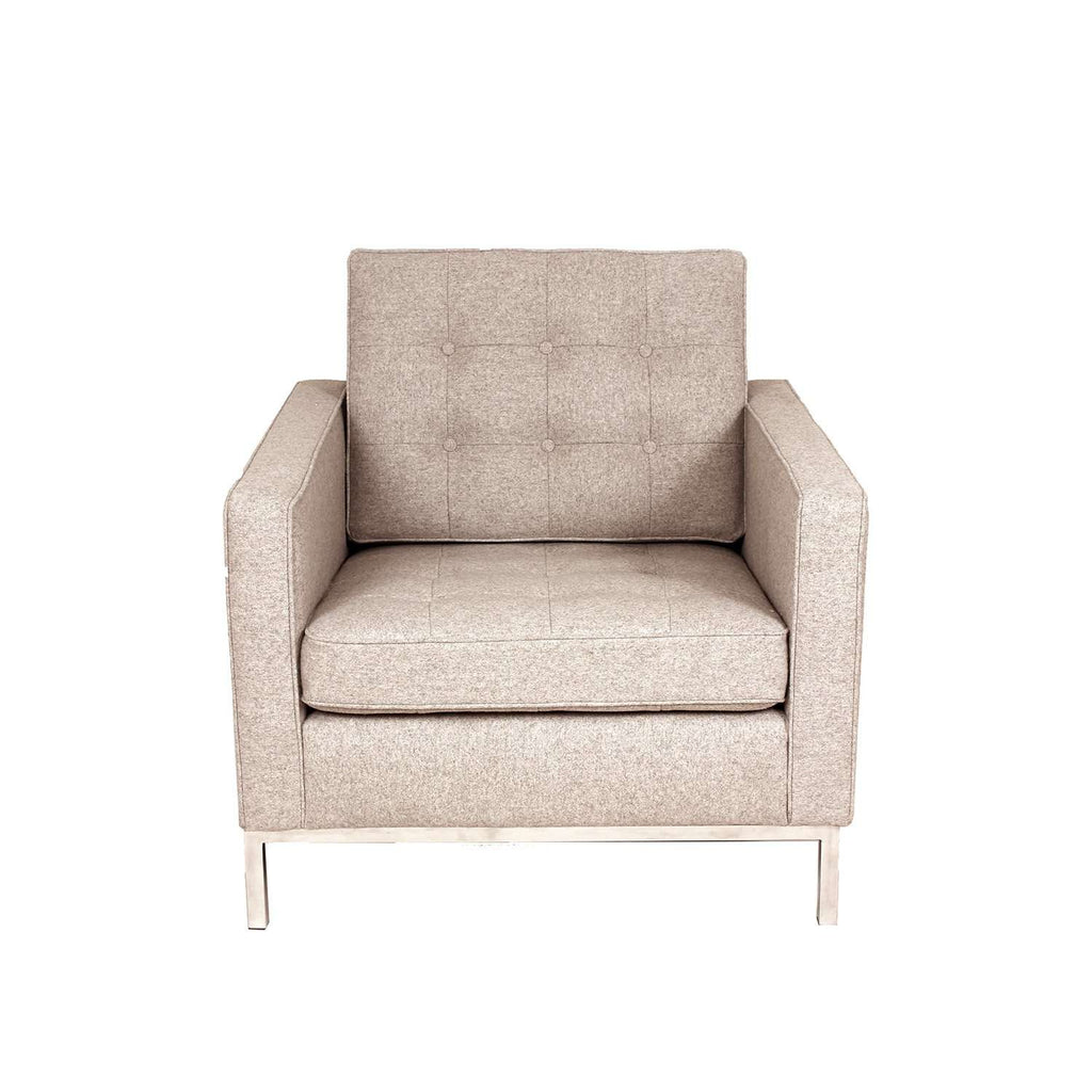 Custom Mid Century Modern Tufted Armchair - Wheat Wool