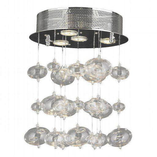 EFFERVESCENCE 4 LIGHT CHROME FINISH AND CLEAR BLOWN GLASS BUBBLE FLUSH MOUNT CEILING LIGHT